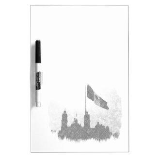 Catedral en el Zocalo del DF con la Bandera 8 Dry Erase Whiteboards