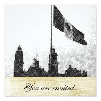"""Catedral en el Zocalo del DF con la Bandera 8 5.25"""" Square Invitation Card"""