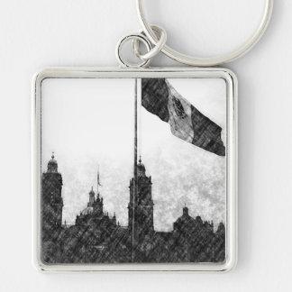 Catedral en el Zocalo del DF con la Bandera 8 Silver-Colored Square Keychain