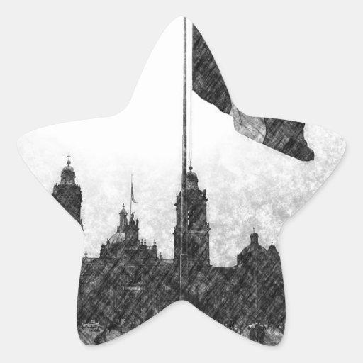 Catedral en el Zocalo del DF con la Bandera 8 Star Sticker