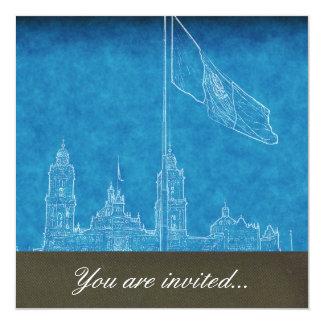 """Catedral en el Zocalo del DF con la Bandera 9.jpg 5.25"""" Square Invitation Card"""