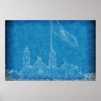 Catedral en el Zocalo del DF con la Bandera 9.jpg Poster