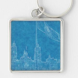 Catedral en el Zocalo del DF con la Bandera 9.jpg Silver-Colored Square Keychain