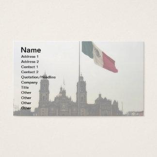 Catedral en el Zocalo del DF con la Bandera Mexica Business Card