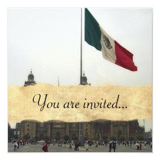 """Catedral en el Zocalo del DF con la Bandera Mexica 5.25"""" Square Invitation Card"""