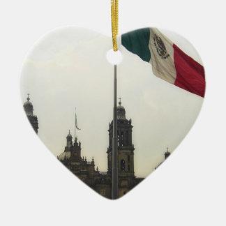 Catedral en el Zocalo del DF con la Bandera Mexica Christmas Ornaments