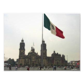 Catedral en el Zocalo del DF con la Bandera Mexica Photograph