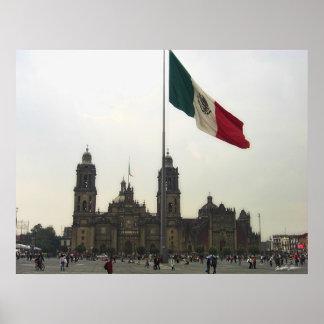 Catedral en el Zocalo del DF & la Bandera Mexicana Poster