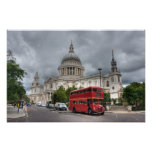 Catedral Inglaterra del autobús y del St Pauls de  Impresiones