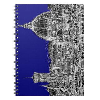 Catedral italiana azul libros de apuntes con espiral