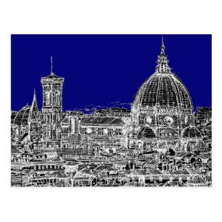Catedral italiana azul tarjetas postales