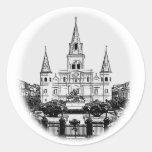Catedral Jackson New Orleans cuadrada de St. Louis Etiquetas Redondas