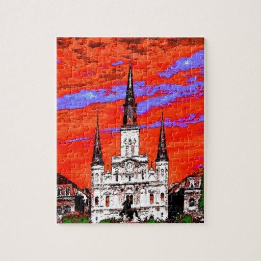 Catedral, New Orleans, colores de Fauvist Rompecabeza