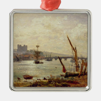 Catedral y castillo, c.1820-30 (aceite de adorno navideño cuadrado de metal