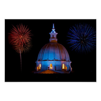Catedral y fuegos artificiales poster