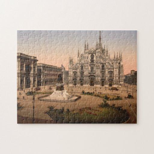 Catedral y plaza, Italia de Milano del vintage Puzzle