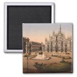 Catedral y plaza, Lombardía, Italia de Milano Imán Cuadrado