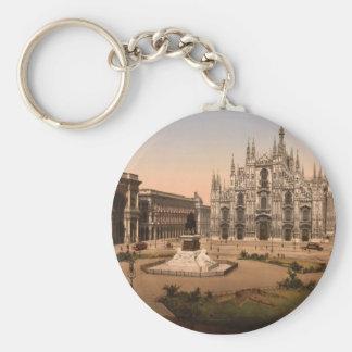 Catedral y plaza, Lombardía, Italia de Milano Llavero Redondo Tipo Pin