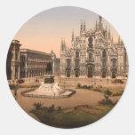 Catedral y plaza, Lombardía, Italia de Milano Pegatina Redonda