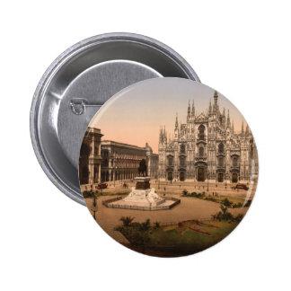 Catedral y plaza, Lombardía, Italia de Milano Pin Redondo De 2 Pulgadas