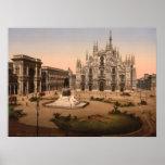 Catedral y plaza, Lombardía, Italia de Milano Póster