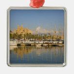 Catedral y puerto deportivo, Palma, Mallorca, Adorno Cuadrado Plateado