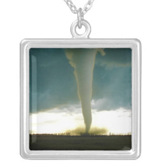 Category F5 Tornado Approaching Elie Manitoba Square Pendant Necklace