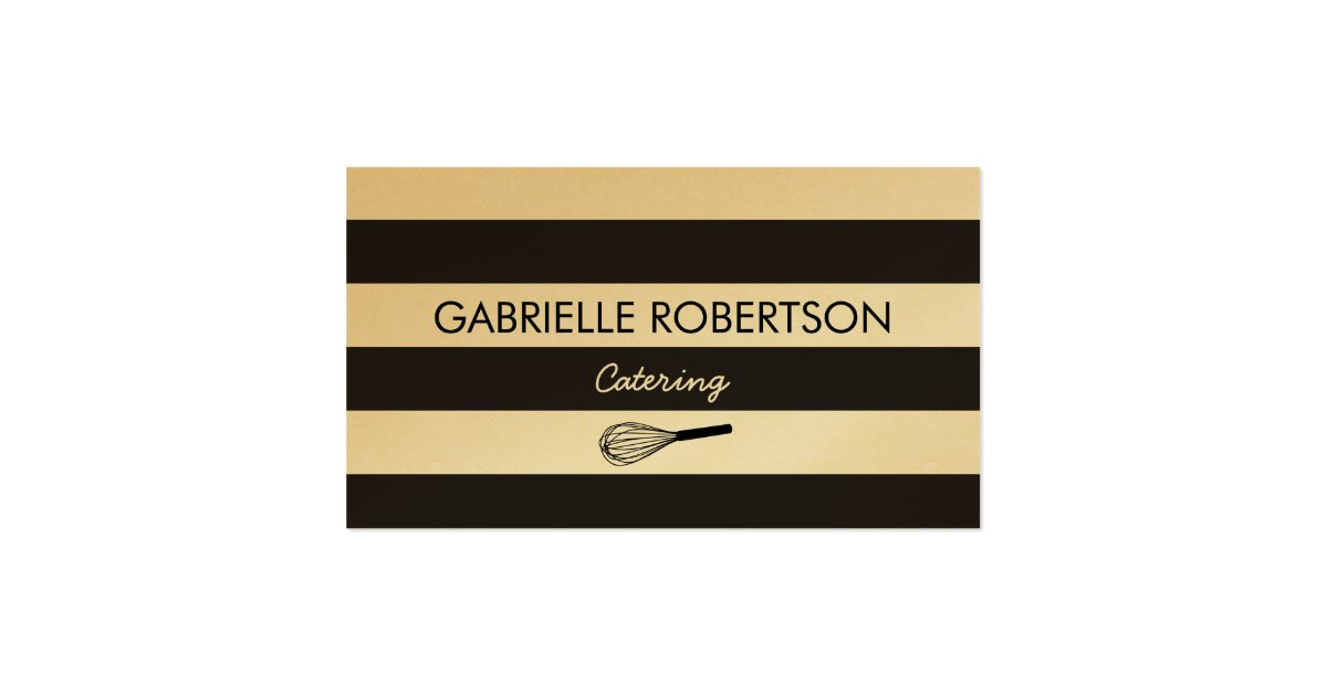 Caterer business card gold paper Double Sided standard