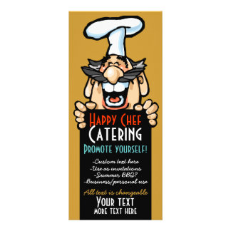 Catering business promotion Menu.Chef.Customizable Rack Card