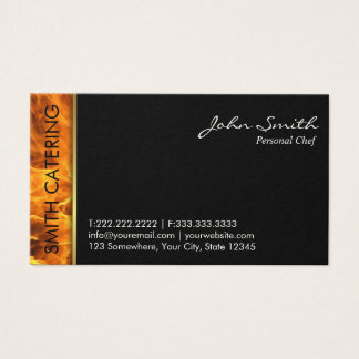 Catering Flaming Fire Hot Foods Professional Business Card