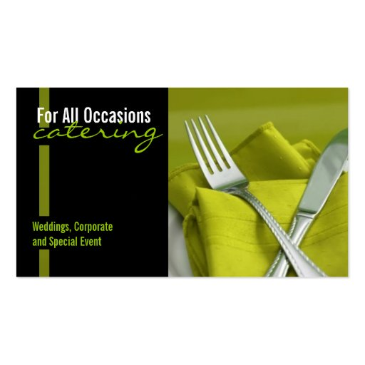 Catering food business card zazzle for Catering business cards samples