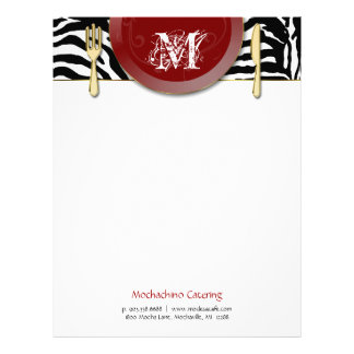 Catering Letterhead Stationery Cutlery Zebra Red