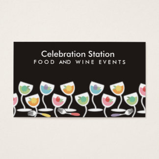Catering party drinks food and wine business card