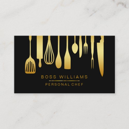 Catering Personal Chef Gold Kitchen Utensils Business Card