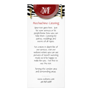 Catering Rack Card Zebra Print Cutlery Red