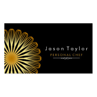 Catering Retro Black Chef Gold Whisk Circle Double-Sided Standard Business Cards (Pack Of 100)