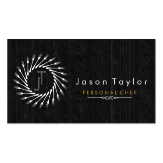 Catering Retro Black Wood Chef Gold Fork Circle Double-Sided Standard Business Cards (Pack Of 100)