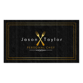 Catering Retro Black Wood Chef Gold Fork Crossed Double-Sided Standard Business Cards (Pack Of 100)