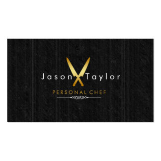 Catering Retro Black Wood Chef Gold Knife Crossed Double-Sided Standard Business Cards (Pack Of 100)