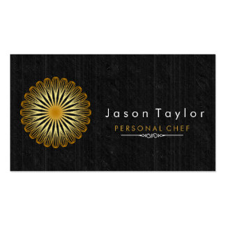 Catering Retro Black Wood Chef Gold Whisk Circle Double-Sided Standard Business Cards (Pack Of 100)