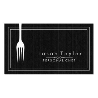 Catering Retro Black Wood Chef White Fork Double-Sided Standard Business Cards (Pack Of 100)