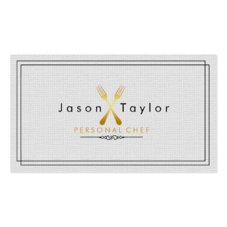 Catering Retro Gray Chef Gold Fork Crossed Double-Sided Standard Business Cards (Pack Of 100)