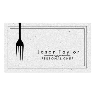 Catering Retro Stone White Chef Black Fork Double-Sided Standard Business Cards (Pack Of 100)