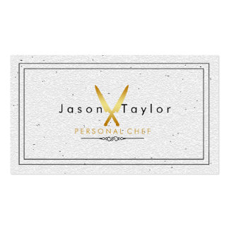 Catering Retro Stone White Chef Gold Knife Crossed Double-Sided Standard Business Cards (Pack Of 100)