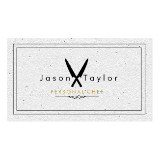 Catering Retro Stone White Chef  Knife Crossed Double-Sided Standard Business Cards (Pack Of 100)