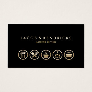 Catering Services Gold Icons BusinessCard Business Card