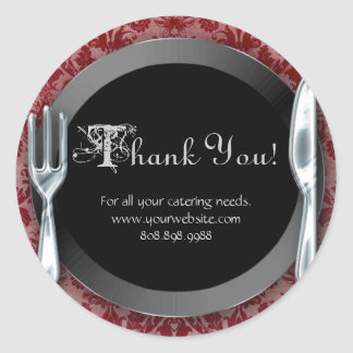 Catering Thank You Stickers Silver Cutlery Red