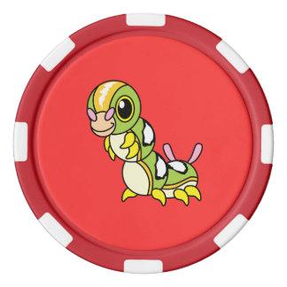 Caterpillar colorido feliz lindo juego de fichas de póquer