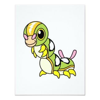 "Caterpillar colorido feliz lindo invitación 4.25"" x 5.5"""