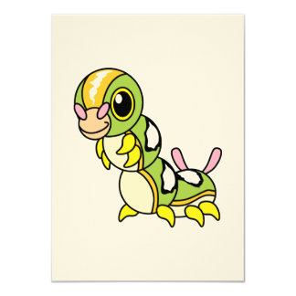 "Caterpillar colorido feliz lindo invitación 4.5"" x 6.25"""